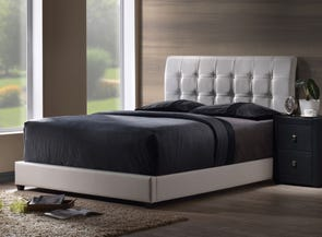 Hillsdale Furniture Lusso Bed with White Faux Leather King Size