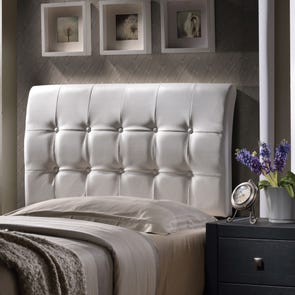 Hillsdale Furniture Lusso White Faux Leather Headboard with Bed Frame Queen Size