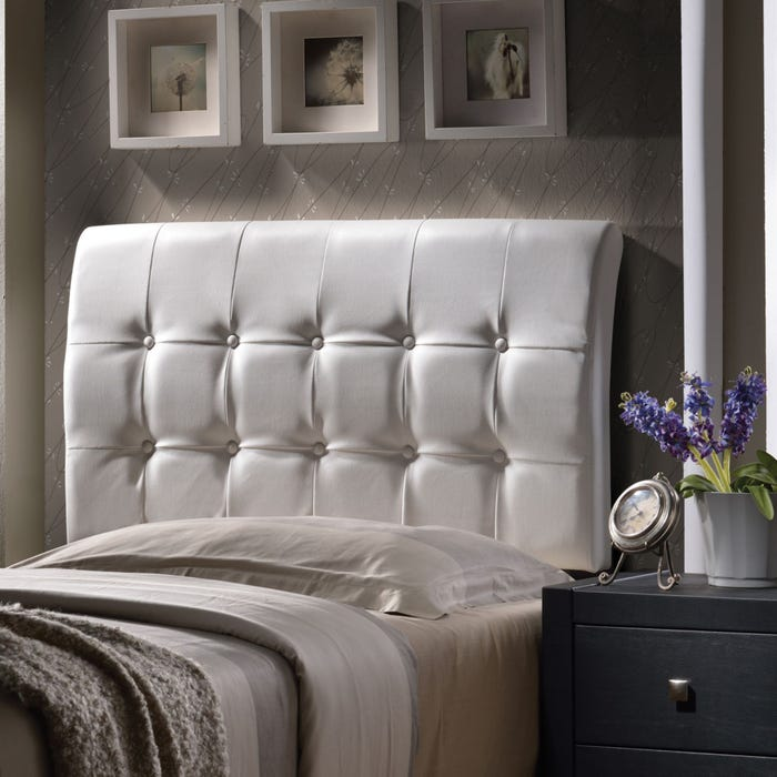 buy popular 4b66f b622e Hillsdale Furniture Lusso White Faux Leather Headboard with Bed Frame King  Size