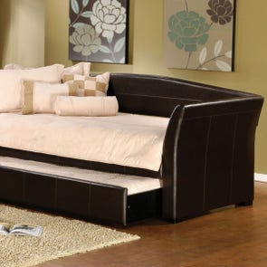 Hillsdale Furniture Montgomery Brown Faux Leather Daybed with FREE Trundle