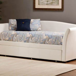 Hillsdale Furniture Montgomery White Faux Leather Daybed with FREE Trundle