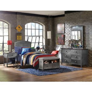 Hillsdale Furniture Urban Quarters 4 Piece Panel Bedroom Set with Footboard Bench