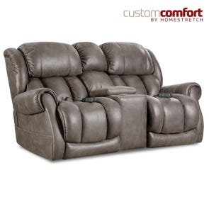HomeStretch Atlantis Power Loveseat with Power Headrest and Power Lumbar Foot Extension in Slate