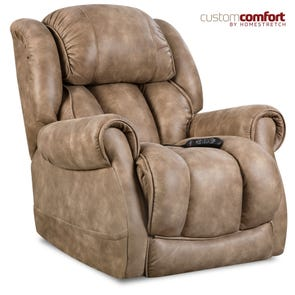HomeStretch Atlantis Power Wall-Saver Recliner with Power Headrest and Power Lumbar Foot Extension in Nougat