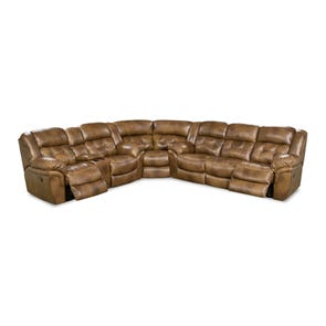 HomeStretch Cheyenne Power Reclining Sectional in Saddle