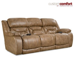 HomeStretch Enterprise Power Sofa with Power Headrest and Power Lumbar Foot Extension in Saddle
