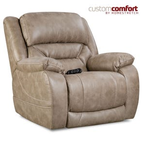 HomeStretch Enterprise Power Wall-Saver Recliner with Power Headrest and Power Lumbar Foot Extension in Mushroom