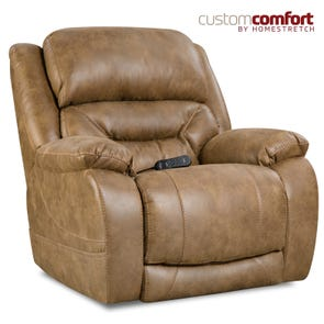 HomeStretch Enterprise Power Wall-Saver Recliner with Power Headrest and Power Lumbar Foot Extension in Saddle