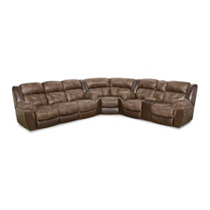HomeStretch Fenway Reclining Sectional in Taupe and Espresso