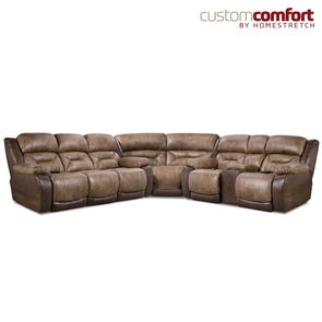HomeStretch Lone Star Power Sectional with Power Headrest and Power Lumbar Foot Extension