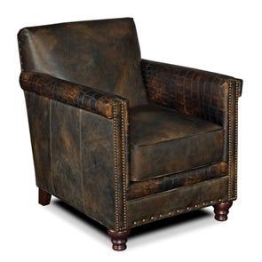 Hooker Furniture Old Saddle Fudge Crocodile Leather Club Chair