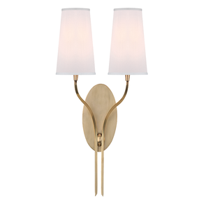 Clearance Hudson Valley Rutland D-2 Light Wall Sconce in Aged Brass OVFCR011820