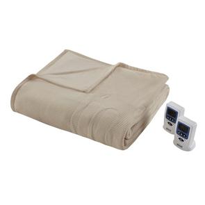 Beautyrest Electric Micro Fleece Full Heated Blanket in Beige by JLA Home