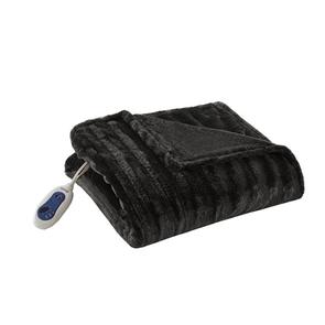 Beautyrest Heated Duke Faux Fur Heated Throw in Black by JLA Home