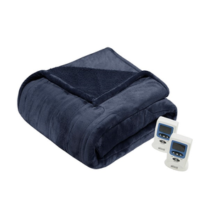 Beautyrest Heated Microlight to Berber King Blanket in Blue by JLA Home