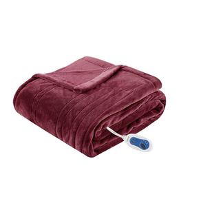 Beautyrest Heated Plush Throw in Red by JLA Home