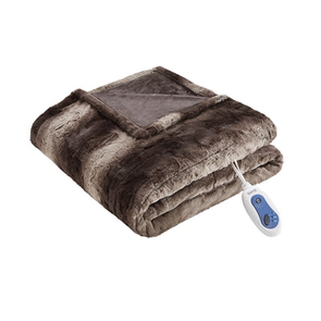 Beautyrest Zuri Oversized Faux Fur Heated Throw in Chocolate by JLA Home