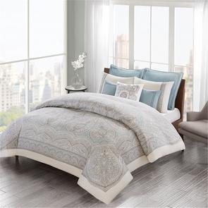 Echo Design Larissa Full/Queen Cotton Sateen Duvet Cover Set in Blue by JLA Home