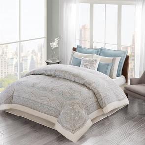 Echo Design Larissa Queen Cotton Sateen Comforter Set in Blue by JLA Home