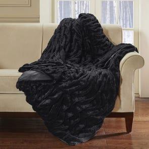 Hampton Hill Oversized Long Fur Throw in Black by JLA Home