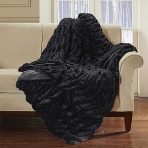 Hampton Hill Oversized Long Fur Throw in Black by JLA Home