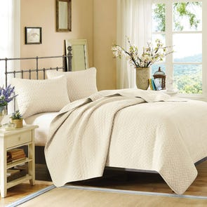 Hampton Hill Velvet Touch Coverlet Set in Ivory by JLA Home