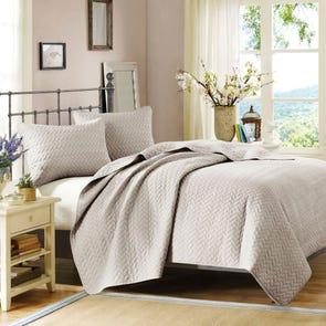 Hampton Hill Velvet Touch Coverlet Set in Linen by JLA Home