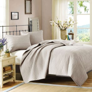 Hampton Hill Velvet Touch Coverlet Set in Linen by JLA Home