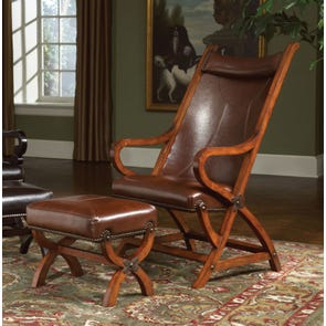 Largo Hunter Chair and Ottoman in Brown Leather