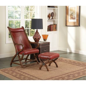 Largo Hunter Chair and Ottoman in Red Leather
