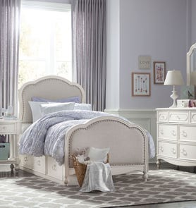 Legacy Classic Kids Harmony Victoria Full Upholstered Panel Bed with Underbed Storage Drawers