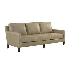 Lexington MacArthur Park Leather Foxboro Sofa in Light Gray