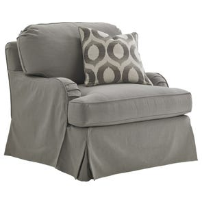 Lexington Oyster Bay Stowe Slipcover Swivel Chair in Gray