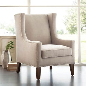 Madison Park Barton Wing Chair in Lindy Linen