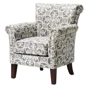 Madison Park Brooke Accent Chair in Doodles Ash