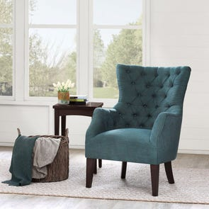 Madison Park Hannah Button Tufted Wing Back Chair in Kara Flannel