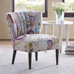Madison Park Korey Channel Back Slipper Chair in Golding Amelie Multi