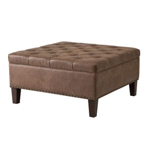 Madison Park Lindsey Tufted Square Cocktail Ottoman in Palance Silt