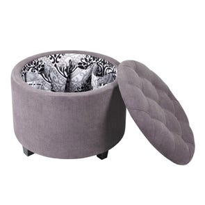 Madison Park Sasha Round Ottoman with Shoe Holder Insert in Slate