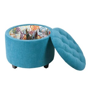 Madison Park Sasha Round Ottoman with Shoe Holder Insert in Teal