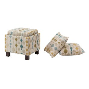 Madison Park Shelley Square Storage Ottoman with Pillows in Booya Tropic
