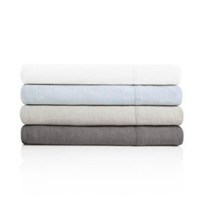 Malouf Woven French Linen Queen Size Sheet Set in Charcoal