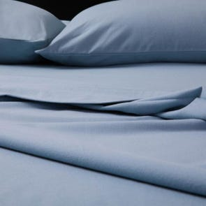 Malouf Woven Portuguese Flannel Queen Size Sheet Set in Pacific