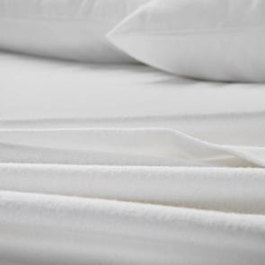 Malouf Woven Portuguese Flannel Queen Size Sheet Set in White