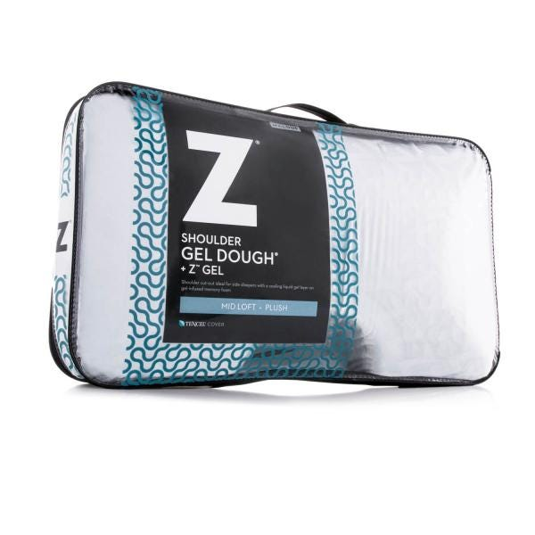 Returned Damaged Package Z Contour Gel Dough Bed Pillow in Soft Velour Cover