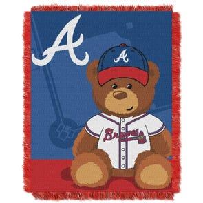 Atlanta Braves MLB Field Bear Woven Jacquard Baby Throw by Northwest Company