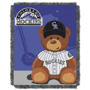 Colorado Rockies MLB Field Bear Woven Jacquard Baby Throw by Northwest Company