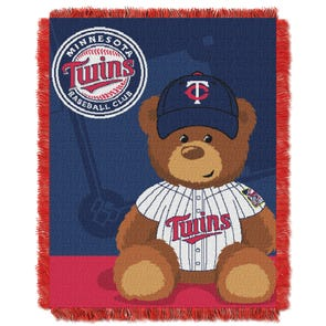 Minnesota Twins MLB Field Bear Woven Jacquard Baby Throw by Northwest Company