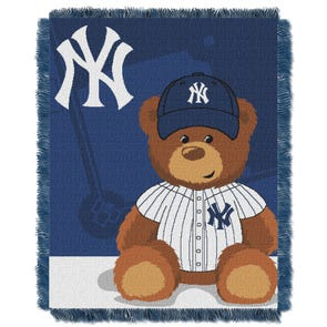 New York Yankees MLB Field Bear Woven Jacquard Baby Throw by Northwest Company