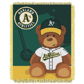Oakland Athletics A's MLB Field Bear Woven Jacquard Baby Throw by Northwest Company
